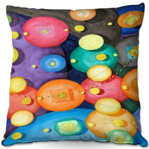 Decorative Outdoor Patio Pillow Cushion | Lorien Suarez - Spheres 15 | Circle Art Abstract