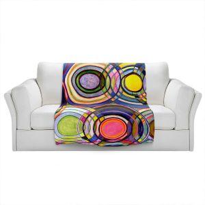 Artistic Sherpa Pile Blankets   Lorien Suarez - Water Series 13   Circle Art Abstract