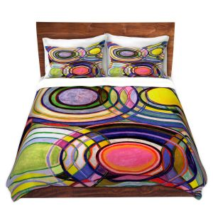 Artistic Duvet Covers and Shams Bedding | Lorien Suarez - Water Series 13 | Circle Art Abstract