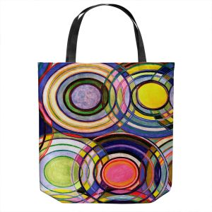 Unique Shoulder Bag Tote Bags | Lorien Suarez - Water Series 13 | Circle Art Abstract