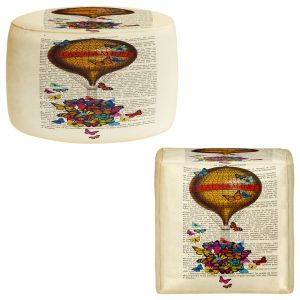 Round and Square Ottoman Foot Stools | Madame Memento - Balloon Butterflies