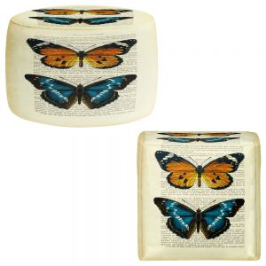 Round and Square Ottoman Foot Stools | Madame Memento - Monarch Butterflies