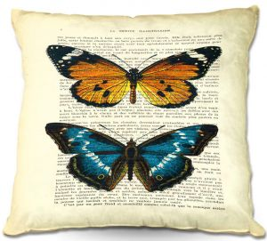 Unique Throw Pillows from DiaNoche Designs by Madame Memento - Monarch Butterflies