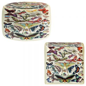 Round and Square Ottoman Foot Stools | Madame Memento - Butterflies Collection