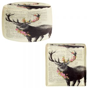 Round and Square Ottoman Foot Stools | Madame Memento - Deer Blossom
