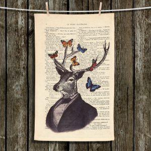 Unique Bathroom Towels | Madame Memento - Deer Portrait Butterflies | Stag bust suit words book