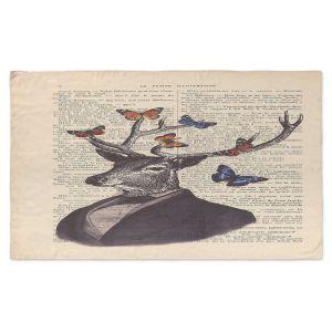 Artistic Pashmina Scarf | Madame Memento - Deer Portrait Butterflies | Stag bust suit words book