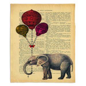 Decorative Fleece Throw Blankets | Madame Memento - Elephant Red Balloons