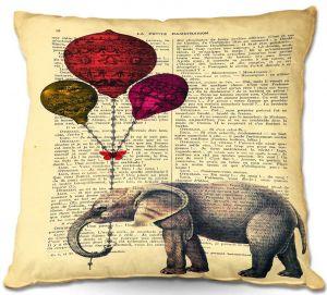 Decorative Outdoor Patio Pillow Cushion | Madame Memento - Elephant Red Balloons