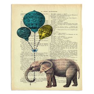 Artistic Sherpa Pile Blankets | Madame Memento Elephant Blue Balloons
