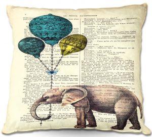 Throw Pillows Decorative Artistic | Madame Memento's Elephant Blue Balloons