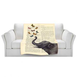 Artistic Sherpa Pile Blankets   Madame Memento Elephant Butterflies