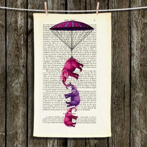 Unique Hanging Tea Towels | Madame Memento - Elephants Parachute | Animals Childlike