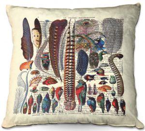 Throw Pillows Decorative Artistic | Madame Memento - Feather Collection | Bird nature script book