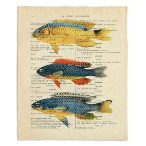 Artistic Sherpa Pile Blankets | Madame Memento - Fish | nature ocean print text script book