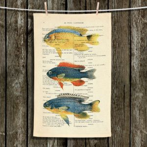 Unique Hanging Tea Towels | Madame Memento - Fish | nature ocean print text script book