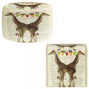 Round and Square Ottoman Foot Stools | Madame Memento - Giraffes
