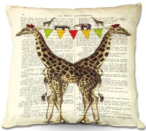 Decorative Outdoor Patio Pillow Cushion | Madame Memento - Giraffes