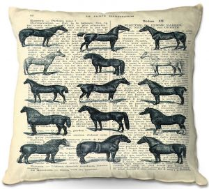 Decorative Outdoor Patio Pillow Cushion | Madame Memento - Horse Breeds