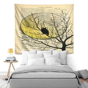 Artistic Wall Tapestry   Madame Memento - Owl Moon