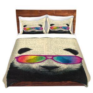 Artistic Duvet Covers and Shams Bedding   Madame Memento - Panda Bear Rainbow Sunglasses