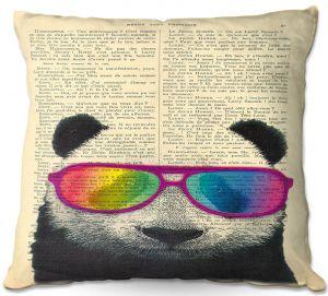Decorative Outdoor Patio Pillow Cushion | Madame Memento - Panda Bear Rainbow Sunglasses