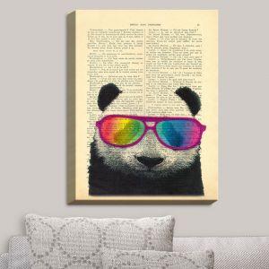 Decorative Canvas Wall Art   Madame Memento - Panda Bear Rainbow Sunglasses