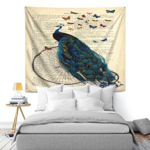 Artistic Wall Tapestry   Madame Memento Peacock Bicycle Butterflies