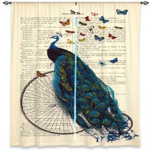 Decorative Window Treatments | Madame Memento Peacock Bicycle Butterflies