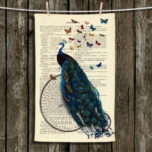 Unique Hanging Tea Towels | Madame Memento - Peacock Bicycle Butterflies | Peacock Butterflies