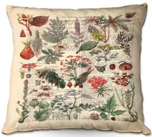 Decorative Outdoor Patio Pillow Cushion | Madame Memento - Plant Chart | nature earth flower