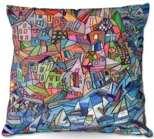 Decorative Outdoor Patio Pillow Cushion | Maeve Wright - Sailing in the Bay