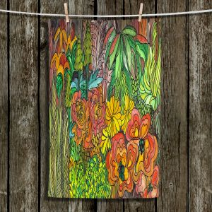 Unique Hanging Tea Towels | Maeve Wright - Tropical Orange and Green | Jungle Tropical