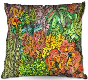 Unique Pillow Indoor 16X16 from DiaNoche Designs by Maeve Wright - Tropical Orange and Green