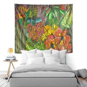 Artistic Wall Tapestry   Maeve Wright Tropical Orange and Green