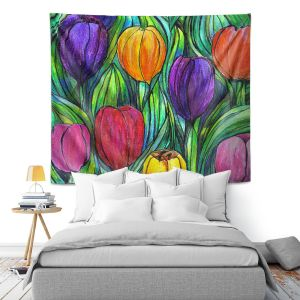 Artistic Wall Tapestry | Maeve Wright Tulip Patch