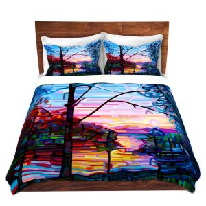 Artistic Duvet Covers and Shams Bedding | Mandy Budan - Awakening | surreal abstract landscape shapes