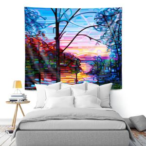 Artistic Wall Tapestry   Mandy Budan - Awakening   surreal abstract landscape shapes