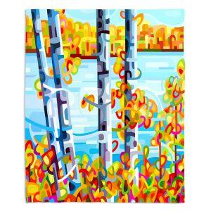 Decorative Fleece Throw Blankets | Mandy Budan - Lake Birch | tree surreal nature shapes