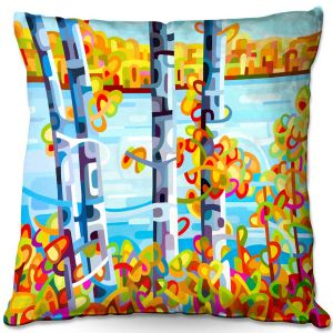 Decorative Outdoor Patio Pillow Cushion | Mandy Budan - Lake Birch | tree surreal nature shapes