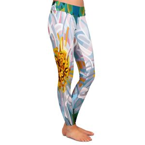 Casual Comfortable Leggings | Mandy Budan - Solitaire | flower surreal shapes abstract