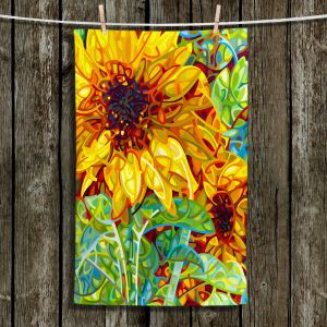 Unique Hanging Tea Towels | Mandy Budan - Summer Garden | sunflower nature surreal