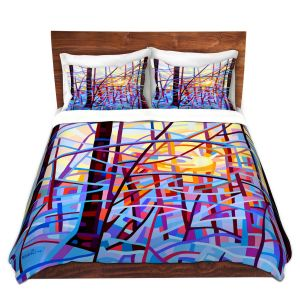 Artistic Duvet Covers and Shams Bedding | Mandy Budan - Sunrise | snow scenery nature forest surreal