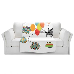 Artistic Sherpa Pile Blankets   Marci Cheary - Airplane   Pattern Plane Stripes Dots Clouds Children Kids Balloon