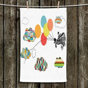 Unique Hanging Tea Towels | Marci Cheary - Airplane | Pattern Plane Stripes Dots Clouds Children Kids Balloon