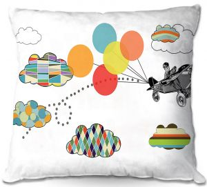 Decorative Outdoor Patio Pillow Cushion | Marci Cheary - Airplane | Pattern Plane Stripes Dots Clouds Children Kids Balloon