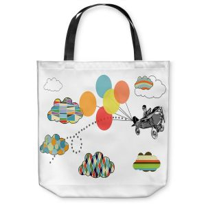Unique Shoulder Bag Tote Bags   Marci Cheary - Airplane   Pattern Plane Stripes Dots Clouds Children Kids Balloon