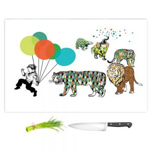 Artistic Kitchen Bar Cutting Boards | Marci Cheary - Animal Parade | Tiger Lion Bear Pattern Kids Balloon