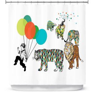 Premium Shower Curtains | Marci Cheary - Animal Parade | Tiger Lion Bear Pattern Kids Balloon