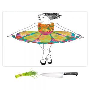 Artistic Kitchen Bar Cutting Boards | Marci Cheary - Ballerina Clean | Ballet Dance Tutu Children Floral Pattern
